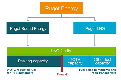 Puget Sound Energy and Puget LNG (both subsidiaries of parent company Puget Energy) are building a $310 million LNG facility in the Port of Tacoma.